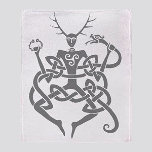grey cernunnos Throw Blanket