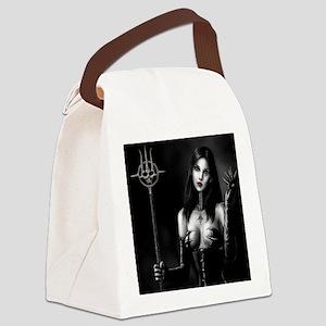 demonie bw staff fin squ Canvas Lunch Bag
