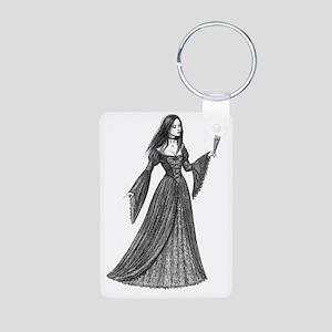 gothic lady with fan full Aluminum Photo Keychain