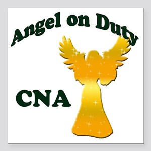 "Angel on duty cna copy Square Car Magnet 3"" x 3"""