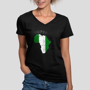 african soccer designs Women's V-Neck Dark T-Shirt