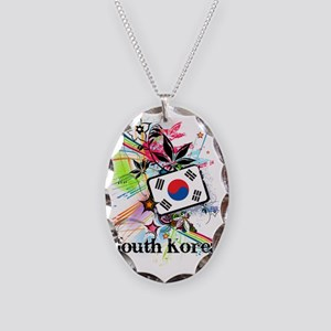 flowerSouthKorea1 Necklace Oval Charm