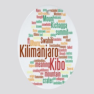 wordle 5 dark kilimanjaro Oval Ornament