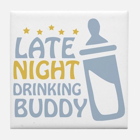 drinkingbuddy_dark Tile Coaster