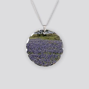 BlueBonnetsAndTree Necklace Circle Charm