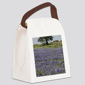 BlueBonnetsAndTree Canvas Lunch Bag