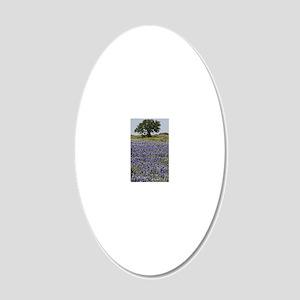 BlueBonnetsAndTree 20x12 Oval Wall Decal