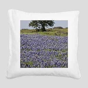 BlueBonnetsAndTree Square Canvas Pillow