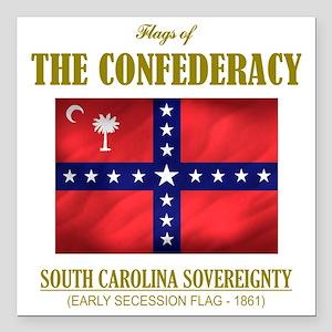 "SC Sovereignty (Flag 3) Square Car Magnet 3"" x 3"""