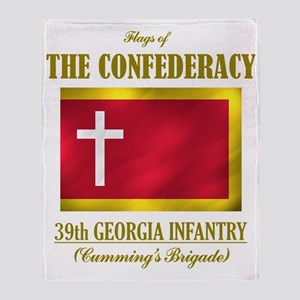 39th Georgia Infantry(Flag 3) Throw Blanket