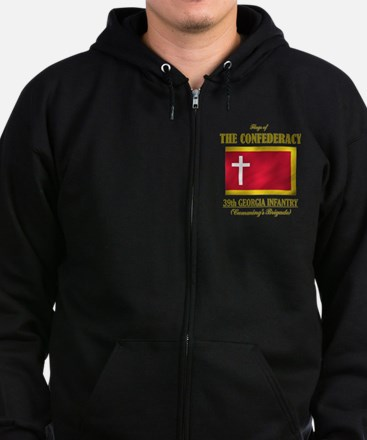 39th Georgia Infantry(Flag 3) Zip Hoodie (dark)