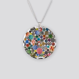 Buttons Square Necklace Circle Charm