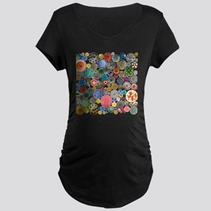 Buttons Square Maternity Dark T-Shirt
