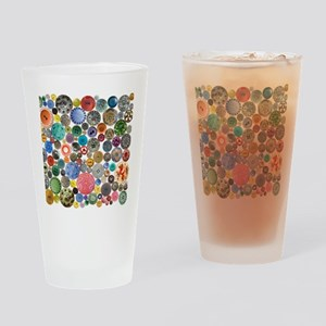 Buttons Square Drinking Glass