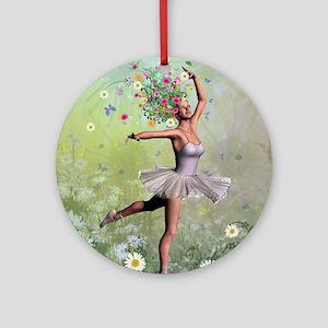 Flower fairy ballerina Round Ornament