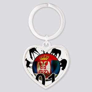 Serbia Football2 Heart Keychain