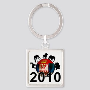 Serbia Football2 Square Keychain