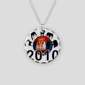 Serbia Football2 Necklace Circle Charm