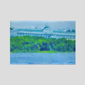 Mackinac Hotel-water_green border Rectangle Magnet