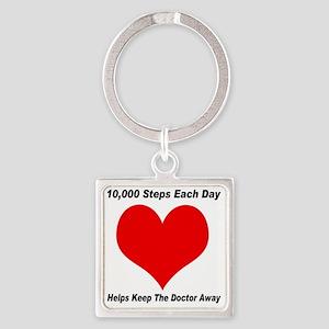 10000 Steps Plain Square Keychain