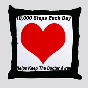 10000 Steps Plain Throw Pillow