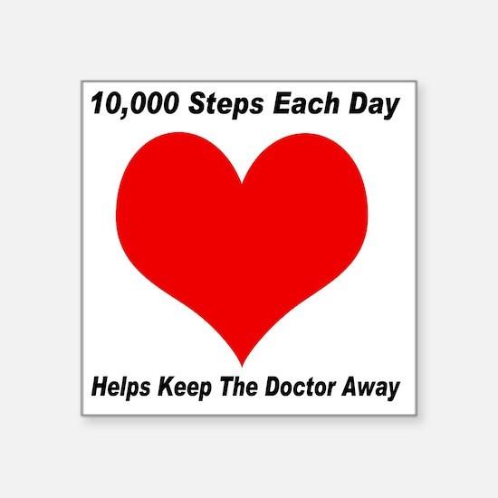 "10000 Steps Plain Square Sticker 3"" x 3"""