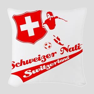 soccer player designs Woven Throw Pillow