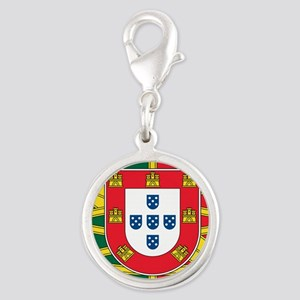 portugal flag 2 Silver Round Charm