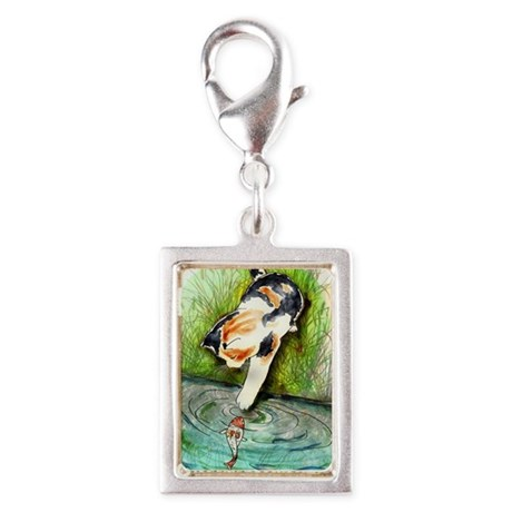Lucky Cat and Lucky Fish Silver Portrait Charm