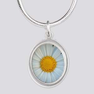 Standout Daisy  Silver Oval Necklace