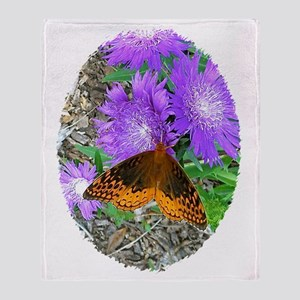 Purple Pixie Flowers, Butterfly Mugs Throw Blanket