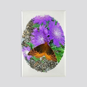 Purple Pixie Flowers, Butterfly M Rectangle Magnet