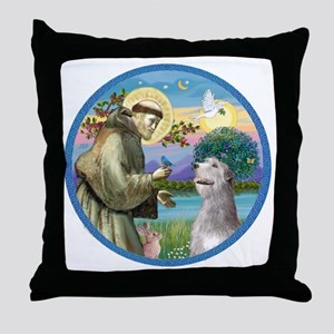 ORN-St Francis - Irish Wolfhound Throw Pillow
