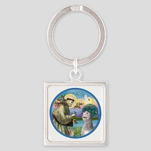 ORN-St Francis - Irish Wolfhound Square Keychain