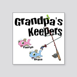 "Grandpas Keepers fishing T- Square Sticker 3"" x 3"""