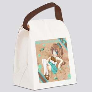 Chocolate Anime Girl Canvas Lunch Bag