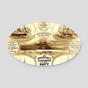 WW I circa 1908 navy Oval Car Magnet
