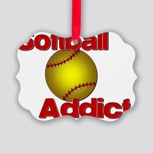 Addicted to Softball Picture Ornament