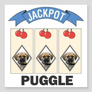 "FIN-puggle-slots Square Car Magnet 3"" x 3"""