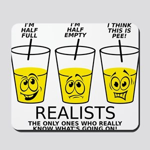 Half Full Half Empty Pee Realist Glass Mousepad