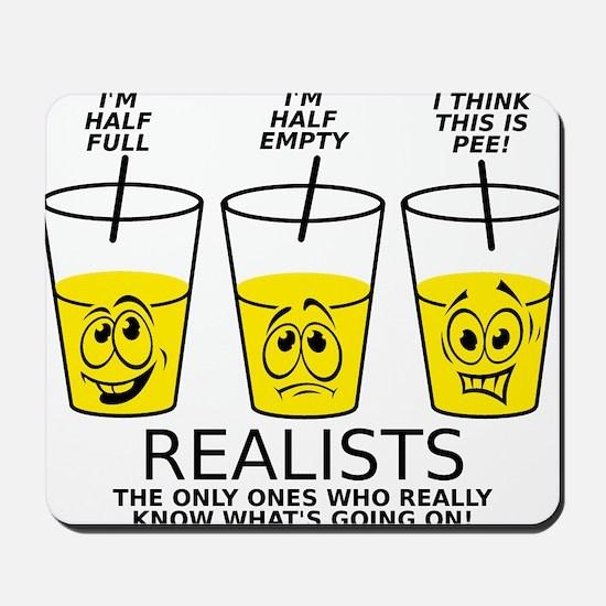 Half Full Half Empty Pee Realist Glass Mousepad