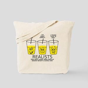 Half Full Half Empty Pee Realist Glass Tote Bag