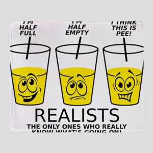Half Full Half Empty Pee Realist Glass Throw Blank
