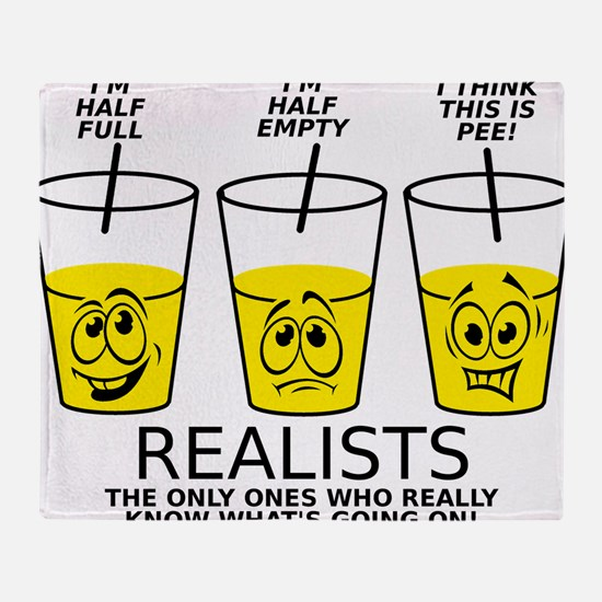 Half Full Half Empty Pee Realist Glass Throw Blank