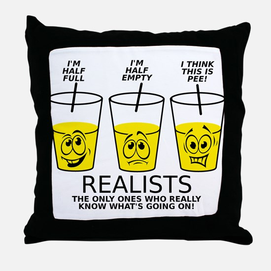 Half Full Half Empty Pee Realist Glass Throw Pillo