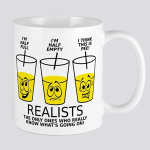 Half Full Half Empty Pee Realist Glass Mugs