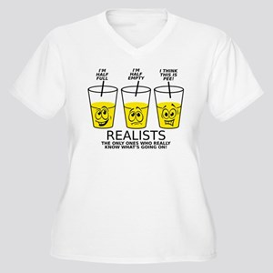Half Full Half Empty Pee Realist Glass Plus Size T