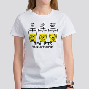 Half Full Half Empty Pee Realist Glass T-Shirt