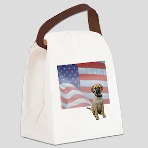 FIN-puggle-patriotic2-WonB Canvas Lunch Bag