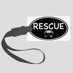 Rescue nose oval-black Large Luggage Tag